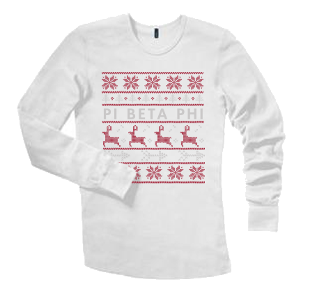 University of Idaho Pi Beta Phi Christmas Sweaters 2015 Long Sleeve in White