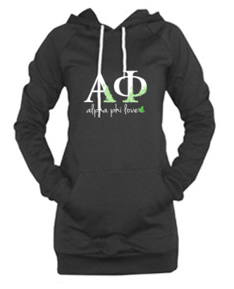 Alpha Phi Love-  California Fleece Pullover Raglan Hoodie Dress