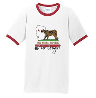 Washington State AA NorCal September 2017 Ringer Tee in White/Red