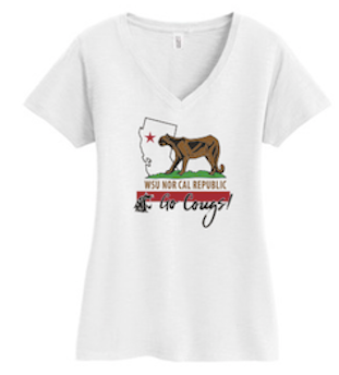 Washington State AA NorCal September 2017 Ladies V-Neck in White