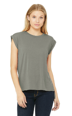 Bella + Canvas Ladies' Flowy Muscle Tee with Rolled Cuff