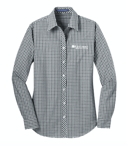 Gritman Medical Apparel Showcase - Ladies Long Sleeve Gingham Easy Care Shirt