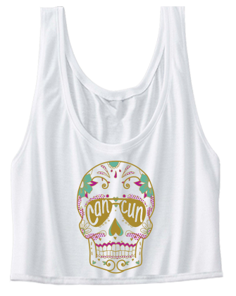 Cancun Skull Spring Break Crop Top