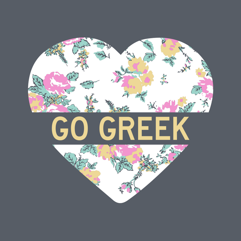 Go Greek Floral Heart