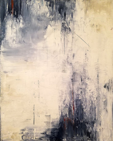 abstract acrylic cream, black and greys by Amanda Jean