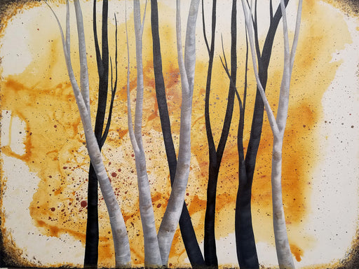 "18""x 24"" acrylic on canvas - trees with gold background by Amanda Jean"