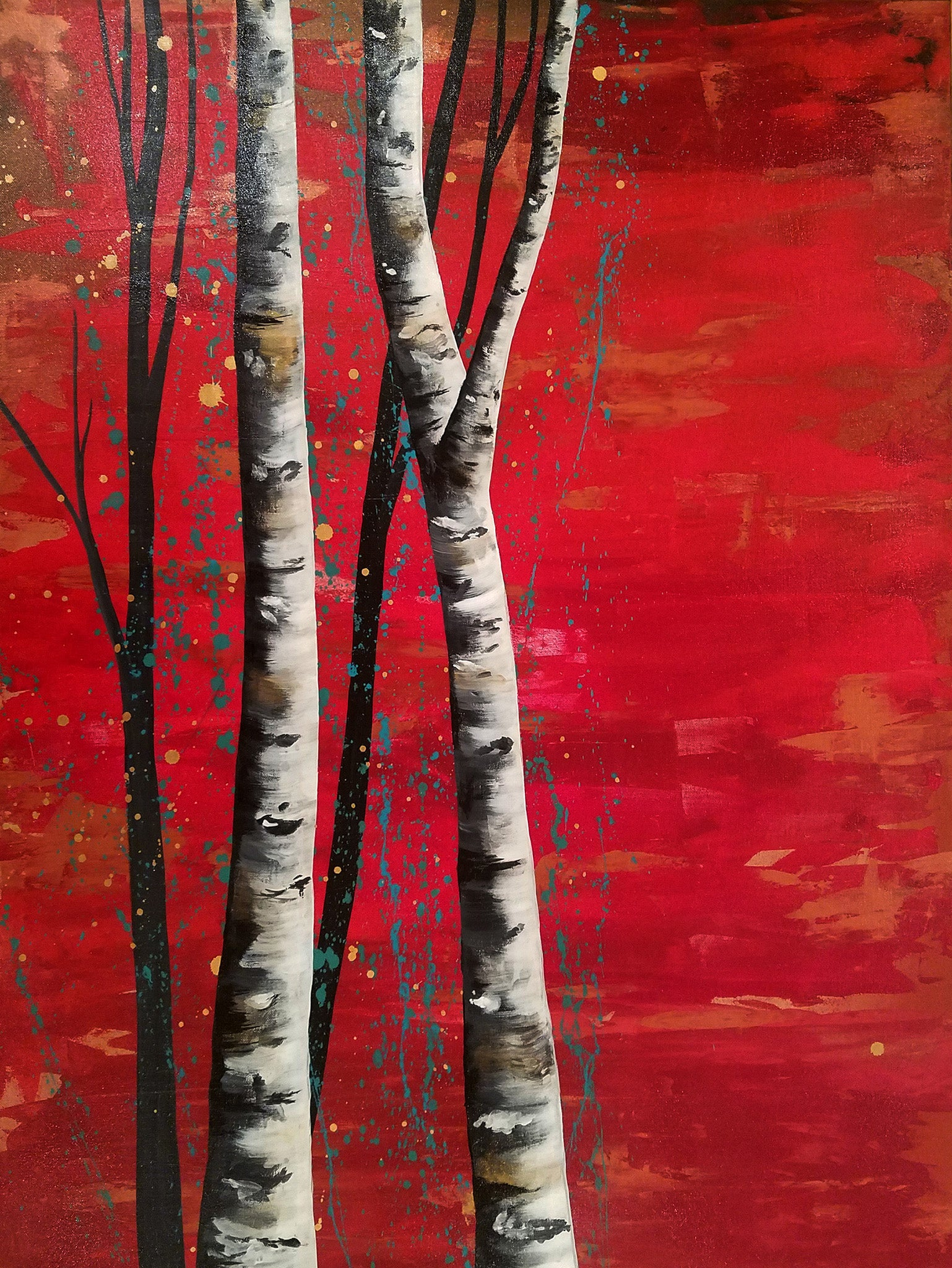 "30""x 40"" acrylic on canvas - trees with red background by Amanda Jean"