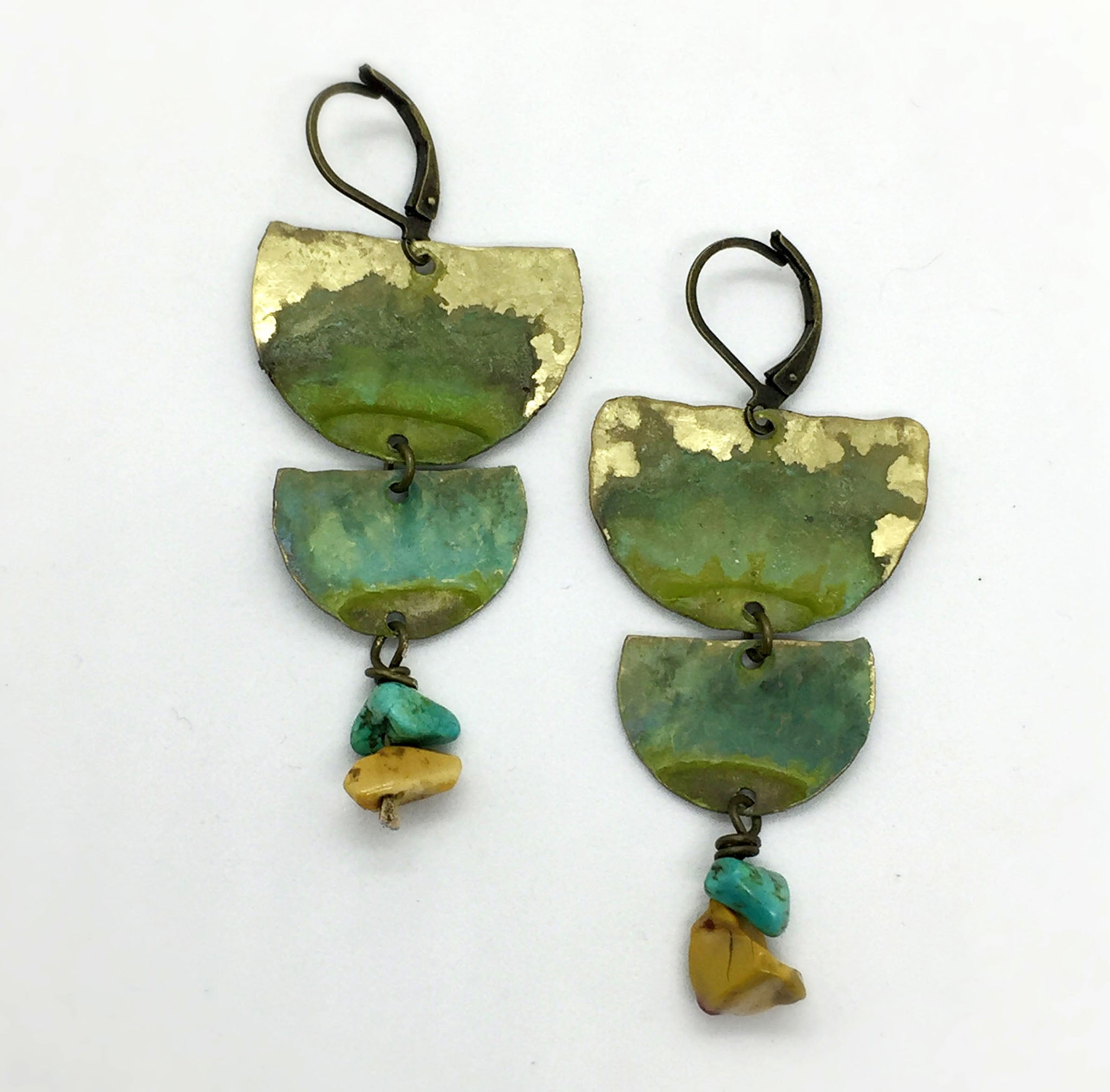 brass and mookaite verdigris patina earrings by Andie Kriedel