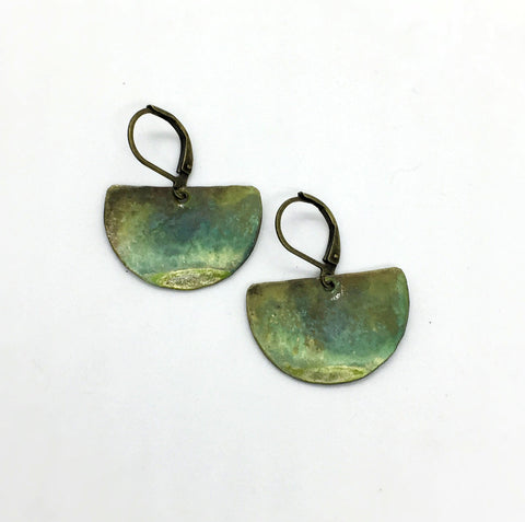 verdigris patina earrings of brass by Andie Kriedel