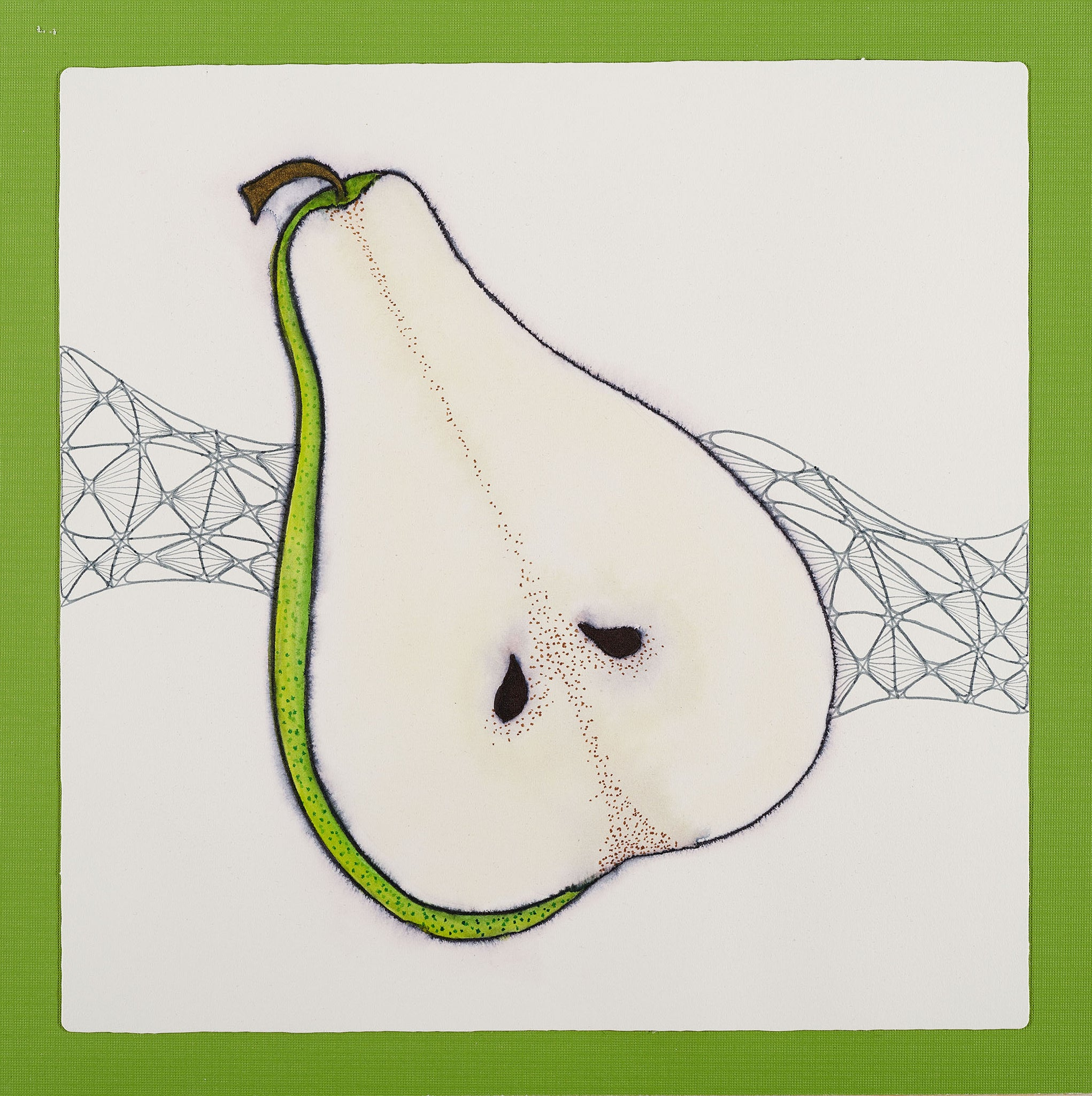 Pear - Watercolor and Ink by Cass Mullane