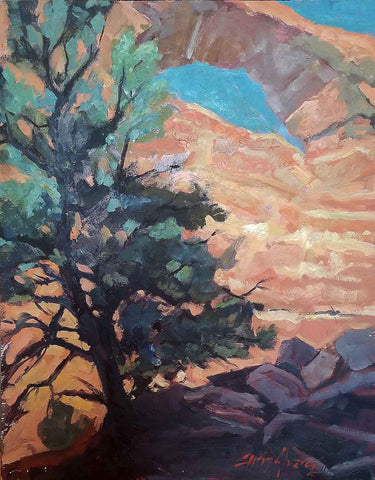 Oil painting -- Southwestern landscape with tree by Chris Alvarez