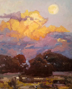 Southwest landscape with moon -- oil on panel by Chris Alvarez