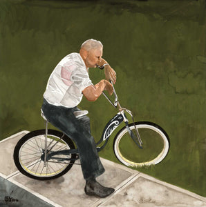 Man On Bike - Gouache on paper by Claire Swinford