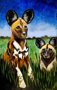 "African Wild Dogs -- 12""x 19"" acrylic on canvas by Diane Vallejo."