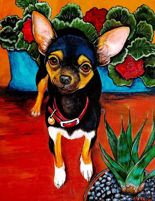 Dog acrylic painting on canvas by Diane Vallejo