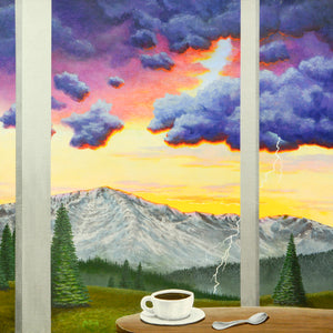 Still Life with Mountain -- acrylic painting by Jack Malloch