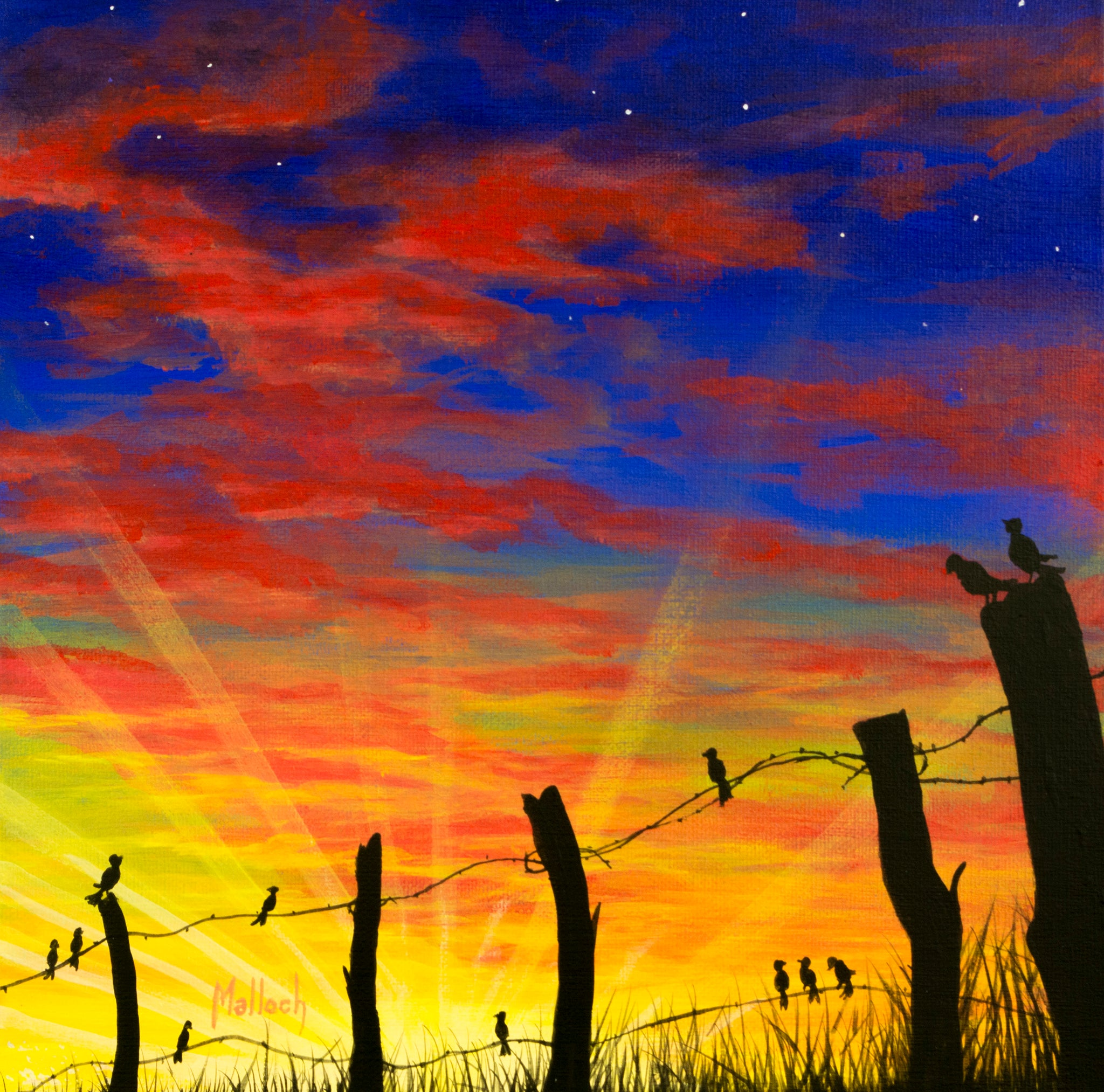 The Birds Red Sky at Night -- Acrylic painting by Jack Malloch