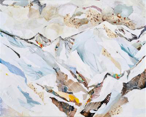Cold - Torn paper on canvas by Laura Weston