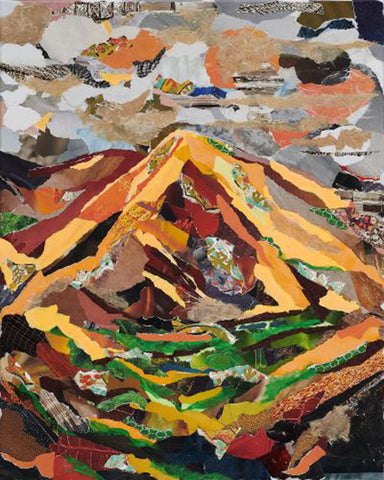 High Desert - Torn paper on canvas by Laura Weston