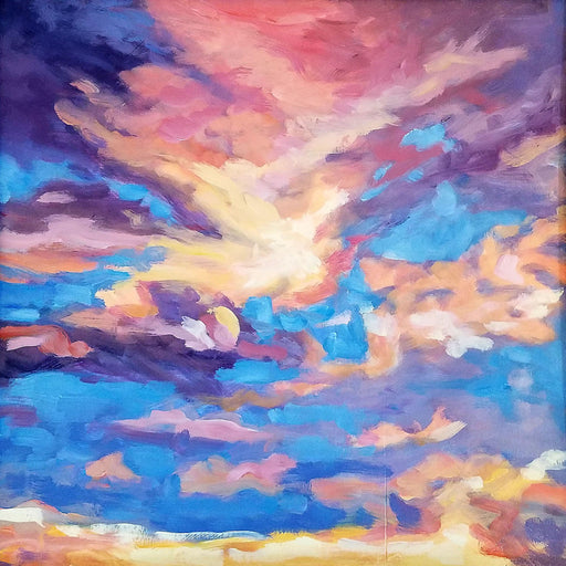 "Sky painting 12""x 12"" oil on panel by Lupita Carassco"
