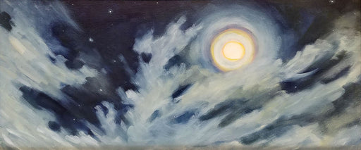Sky and moon oil on panel by Lupita Carassco -- unframed.