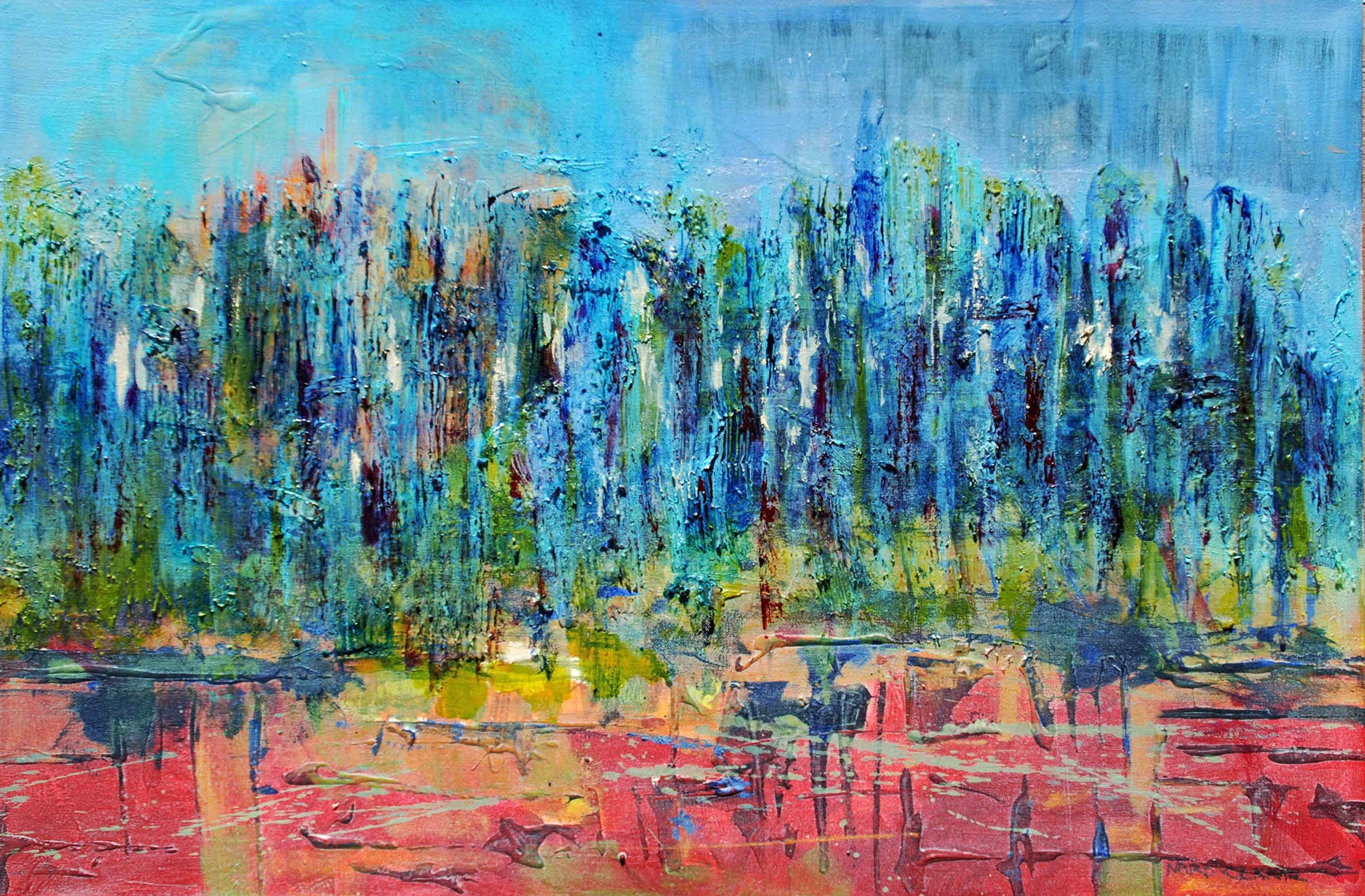 Pond - mixed media/ acrylic painting by Nard Claar