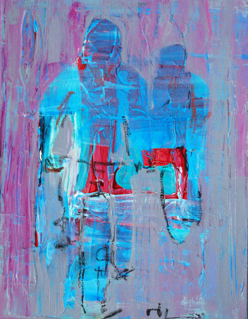 Two in a Line - mixed media/ acrylic painting by Nard Claar