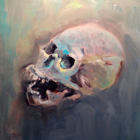 Skull - oil on wood painting by Ramon Aguirre - framed