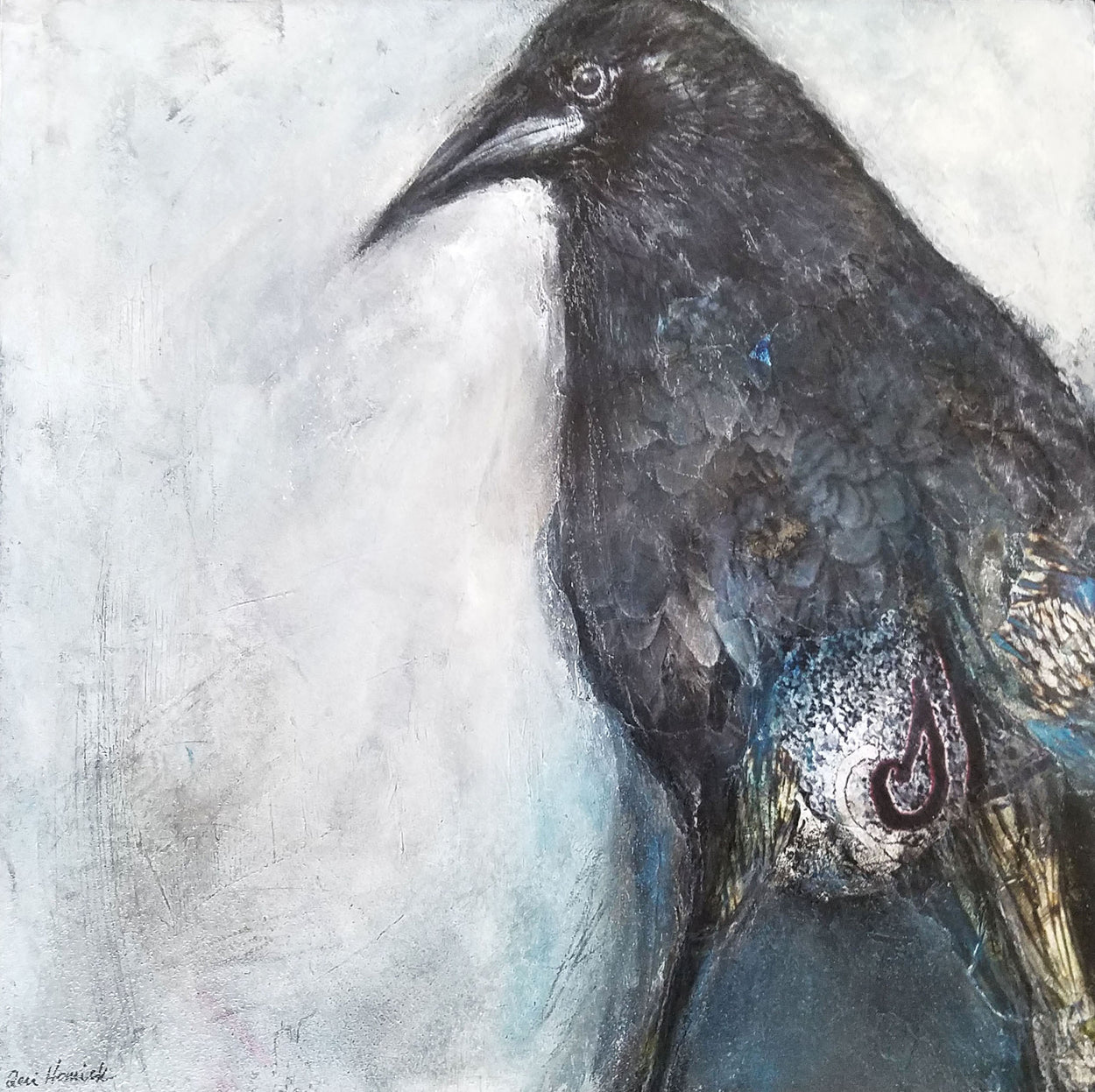 Calling Crows No. 10 - alcohol ink, collage, mixed media by Teri Homick