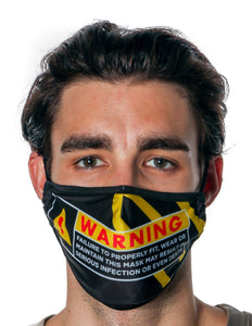 Premium Protective Fabric Face Covering Mask: Warning