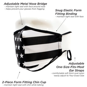 Premium Protective Fabric Face Covering Mask: Black Flag