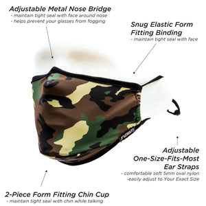 Premium Protective Fabric Face Covering Mask: Camo