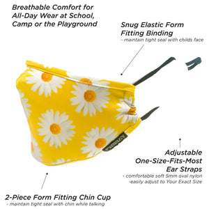 Premium Protective Fabric Face Covering Mask: Daisy