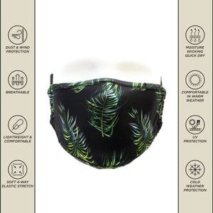 Premium Protective Fabric Face Cover- Tropical Black