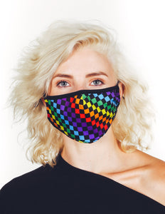 Premium Fabric Face Covering Mask | INDY RAINBOW BLACK