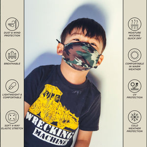 Premium Fabric Face Covering Mask | KIDS | Camo
