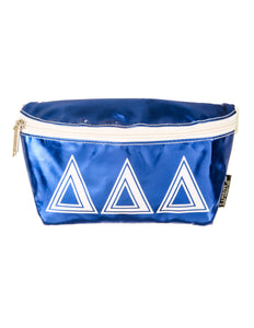 Fydelity- Ultra-Slim Fanny Pack: GREEK Delta Delta Delta Metallic Royal Blue