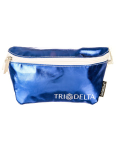 Fydelity- Ultra-Slim Fanny Pack: GREEK Tri-Delta Metallic Royal Blue