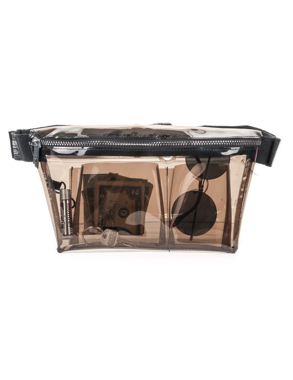 FYDELITY- XL Ultra-Slim Fanny Pack: CRYSTAL Smoke