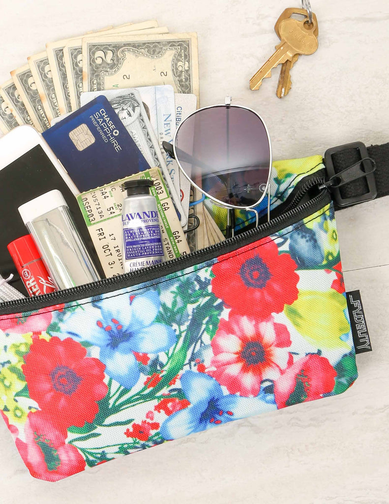 83175: Ultra-Slim Fanny Pack: PRINT Red Floral - Fydelity