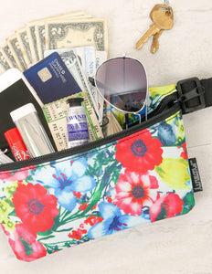 FYDELITY- Ultra-Slim Fanny Pack: Red Floral