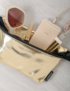 FYDELITY- Ultra-Slim Fanny Pack: METALLIC Gold