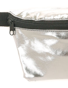 FYDELITY- Ultra-Slim Fanny Pack: METALLIC Silver