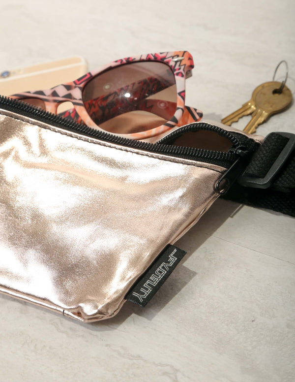 FYDELITY- Metallic Foil Fanny Pack: Rose Gold