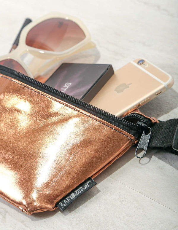 FYDELITY- Ultra-Slim Fanny Pack: METALLIC Bronze
