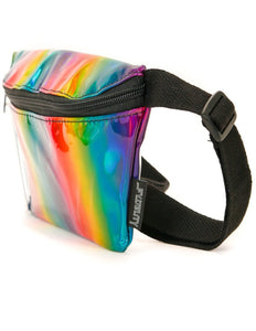 FYDELITY- Ultra-Slim Fanny Pack: METALLIC Rainbow