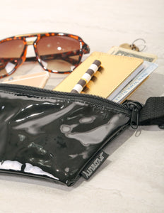 FYDELITY- Ultra-Slim Fanny Pack: VEGAN PATENT LEATHER Black