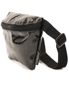 FYDELITY- Ultra-Slim Fanny Pack: METALLIC Black