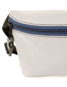 FYDELITY- Ultra-Slim Fanny Pack: GAME DAY Grey & Blue
