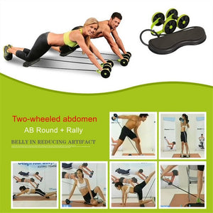 Abdominal Double Wheel Abs Roller with Resistance Band and Mat